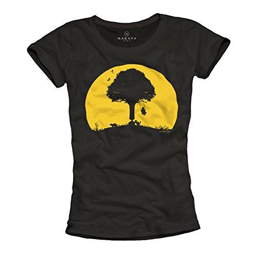 Camiseta Divertida para Mujer - Niños Columpios - Negra M
