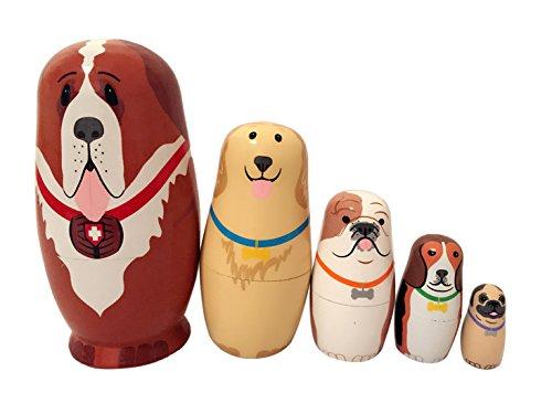 Happy Cherry 5pcs Handgemachte DIY Hölzerne Russische Verschachtelungs Hündchen Puppen Geschenk Traditionelle Russische Nesting Wishing Puppen Hunde set Matroschka 15 * 5.6 CM
