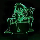 3D LED luz de la noche Anime One Piece Luffy lámpara de mesa USB 7 color atmósferas durmiendo iluminación para niño regalos de