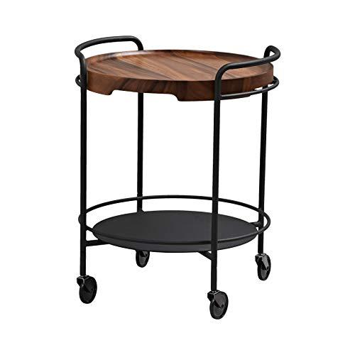 SACKit - SERVEit beistelltisch/tabletttisch auf Rollen aus schwarzen Metall mit eine runde baumscheibe aus braun Akazienholz - Perfekt für Wohnzimmer & Schlafzimmer - 68x55 cm - Dänisches Design