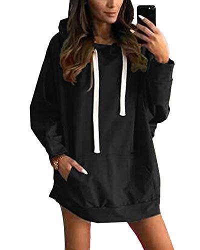YOINS Sweatshirt Damen Langer Kapuzenpullover Langarm Hoodie Pullover mit Tasche Pulli Kleider Strickjacke Lange Tops Mantel (XL, Aktualisierung-Schwarz)