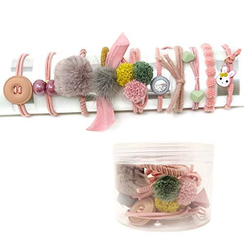 Honbay Fashion Hair Accessories 10PCS Korean Cute Elastic Hair Ties Hair Bands Hair Ropes Ponytail Holders (Pink)