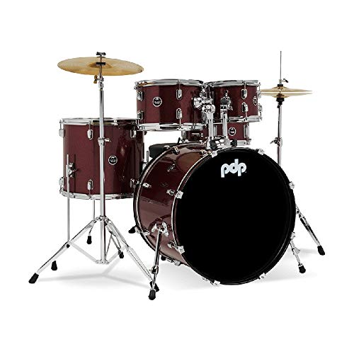 PDP Center Stage PDCE2215KTRR 5-piece Complete Drum Set with Cymbals - Ruby Red Sparkle