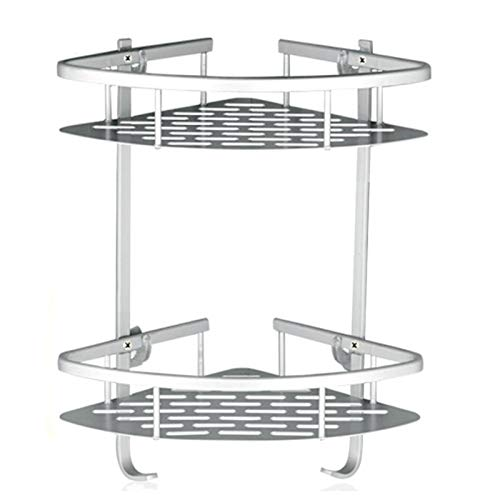Lancher Bathroom Shelf ( No Drilling ) Durable Aluminum 2 Tiers Shower Shelf Kitchen Storage Basket Adhesive Suction Corner Shelves Shower Caddy
