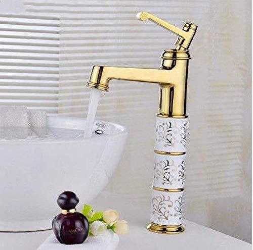 Grifo de Cocina, Grifo de lavabo baño moderno grifo de oro instalación de cubierta de latón macizo manija única