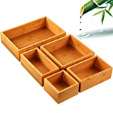 Pipishell - Juego de organizador de cajones de bambú de 5 piezas, varios tamaños de caja de almacenamiento organizador para oficina, hogar, cocina, dormitorio, baño