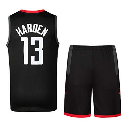 Rying Chico Hombre Camisetas de Baloncesto y Pantalones Cortos James Harden No.13 Chris Paul No.3 Verano Basketball Jersey Sin Mangas Camisetas (S, Negro#13)