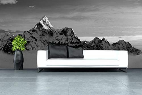 Vlies behang XXL poster fotobehang bergen topper natuur 200 x 100 cm selbstklebend zwart, wit