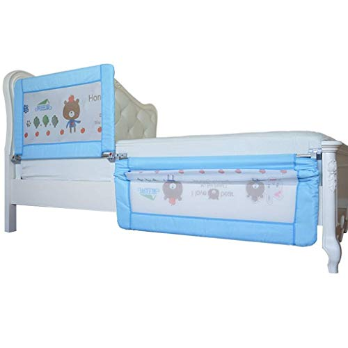 Affordable PNFP Blue Bed Rails for Children Baby Girls Boys Children, Folding Swing Down Safety Bedr...