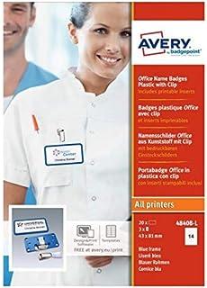 AVERY - Boite de 20 badges type Office bleus avec clip de suspension métal, Format 37 x 75 mm
