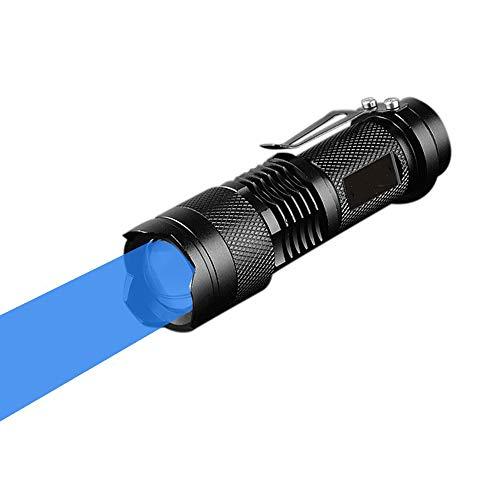Linterna Azul, WESLITE Mini Linternas de Luz Azul Linterna de Azul 3 Modos con Zoom con Clip de Largo Alcance para la Caza de Pesca Nocturna (Batería no incluida)