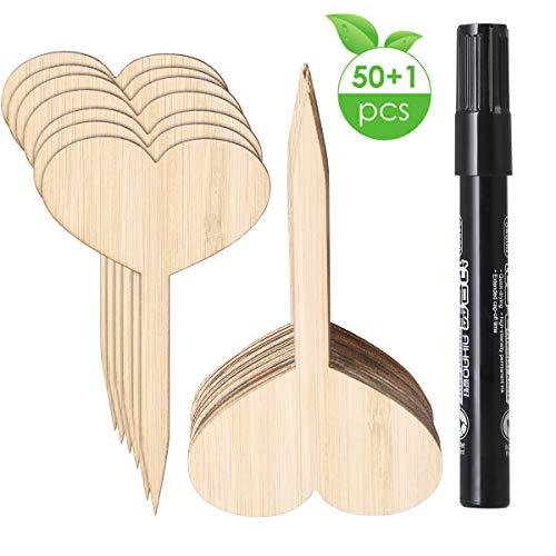 ROSEBEAR 50 Stks Bamboe Plant Zaad Labels Met Bonus Een Pen Milieuvriendelijke T-Type Teken Plant Tags Moestuin Markers Kwekerij Tuinplanten Tags Voor Zaad Ingemaakte Kruiden (Hartvorm 10 * 6 Cm)