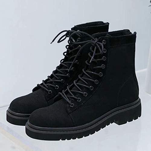 Shukun Bottes Chaussures pour Femmes Wild PU rue Shooting Martin bottes Chaussures à Talon Plat pour Femme