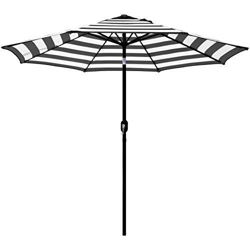 Outdoor Gartenschirm 9 Ft Streifen Mit Kurbel Und Tilt (Color : Black White)