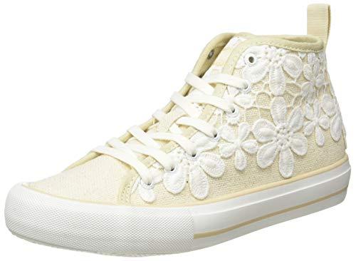 Desigual Shoes Beta Crochet, Zapatillas Altas Mujer, Beige Crudo 9020, 36 EU