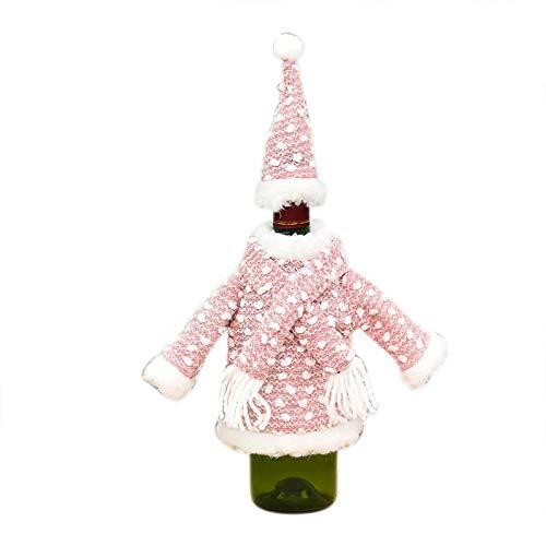 Shiningwe 1pc Mini Navidad Ropa Decoraciones para la Cubierta de la Botella de Navidad Punto Botella de Vino Cubierta Lindo Decoración del Hogar