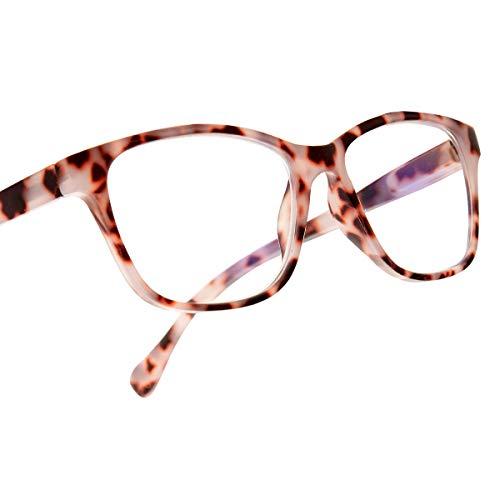 Leaead Occhiali da Lettura BluErase, con Telaio Quadrato, Contro la Luce Blu, Prevengono l'Affaticamento degli Occhi, Contro i Raggi UV, Occhiali sia per Uomini che per Donne per Computer/Cellulari