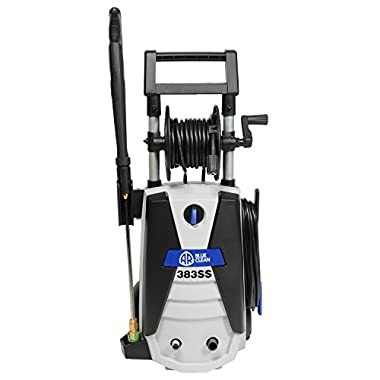 AR Blue Clean AR383SS 1,900 PSI Electric Pressure Washer, 4 Nozzles, Spray Gun, Wand, Detergent Tank, 30' Hose
