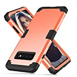 ZHOGTNEG Compatible with Galaxy S10 Case,3-in-1 Design Heavy Duty Protective Case W/Hard Plastic and Soft Silicone Shock Absorption Skid-Proof Cover Case for Samsung Galaxy s10 (Coral Red/Black)