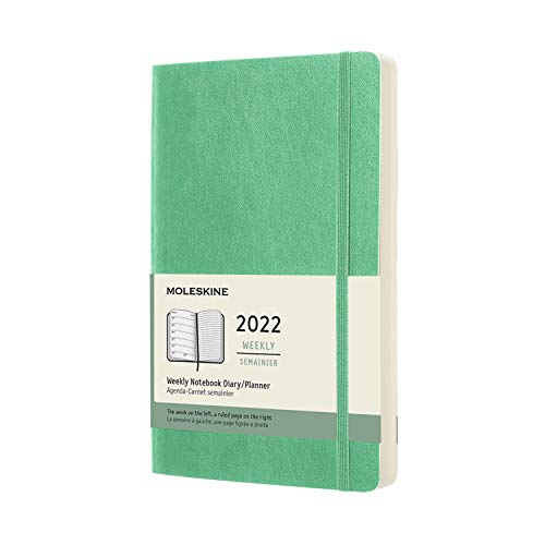 Moleskine Weekly Planner 2022, 12-Month Weekly Diary, Weekly Planner and Notebook, Hard Cover, Large Size 13 x 21 cm, Colour Ice Green, 144 Pages