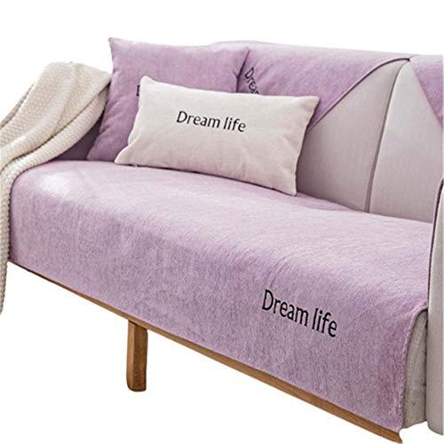 Funda Antideslizante de Chenilla para sofá,Protector Universal para reposabrazos,para Silla,sofá,Protector Antideslizante para Muebles,Violeta Claro,90X120cm