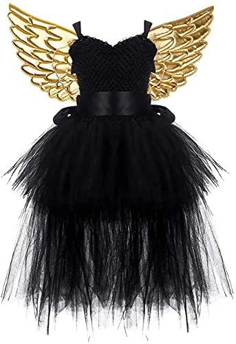 GDYJP 1 Set Chicas Tutu Vestidos de Halloween Traje de Hadas Princesa Dorado ala Malla Tutu Traje de Vestir para niñas Fiesta de cumpleaños Cosplay Fiesta (Color : Black, Tamaño : XL)