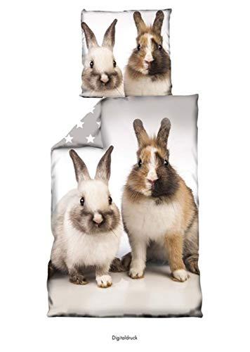 Bettwäsche Hase Kaninchen 135 x 200cm 100% Baumwolle