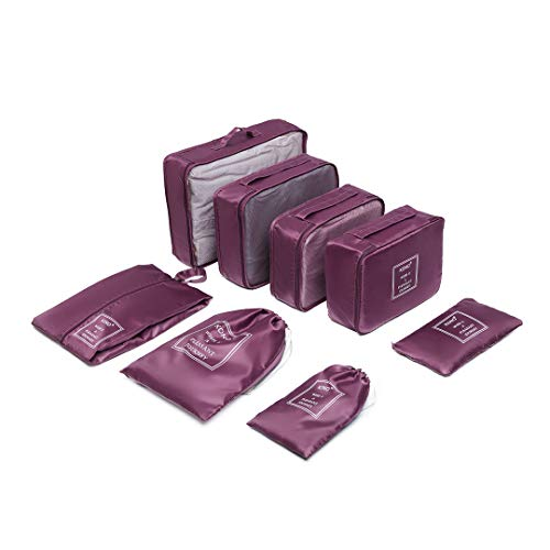 Kono 8 Pcs Packing Cubes Set for Suitcase Luggage Organiser Bag Pouches (Burgundy)