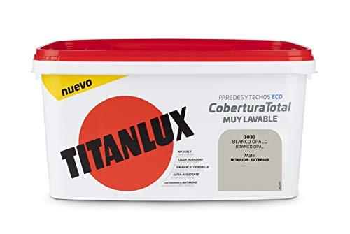 Titanlux Titan Pintura Plástica Covertura Total 4L Gama de Colores (1033 Blanco Ópalo)