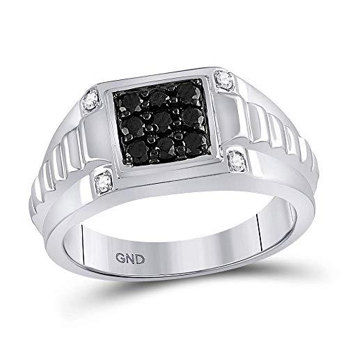 Jewels By Lux Herren Weißgold schwarzer Diamantring 8
