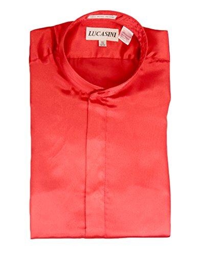 19 36-37 207 Lucasini 207 Red Mandarin Collar Shiny Shirt