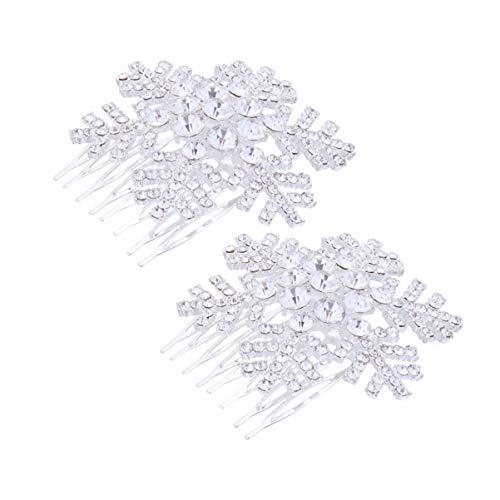 Minkissy 2pcs Winter Schneeflocke Haare Seite Kamm klaren Kristall Strass Haarnadel Hochzeit Kopfbedeckungen Zubehör für Weihnachten schneebedeckte Hochzeit Bräute Frauen