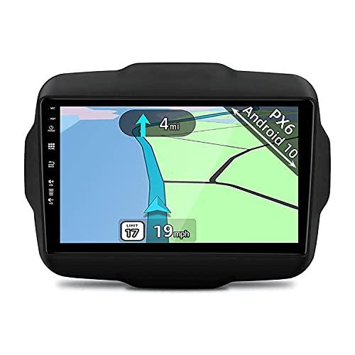 YUNTX PX6 Android 10 Autoradio adatto per Jeep Renegade(2016-2018) - 4G+64G - GPS 2 Din - Gratuiti Telecamera Posteriore - Supporto DAB / Controllo del volante / WiFi / Bluetooth / Mirrorlink/4K Video