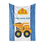 Personalized Custom Dump Truck Fleece and Sherpa Throw Blanket for Boys, Girls, Kids, Baby - Toddler Construction Blankets Perfect for Bedtime, Bedding or as Gift (50' x 60' - Child)