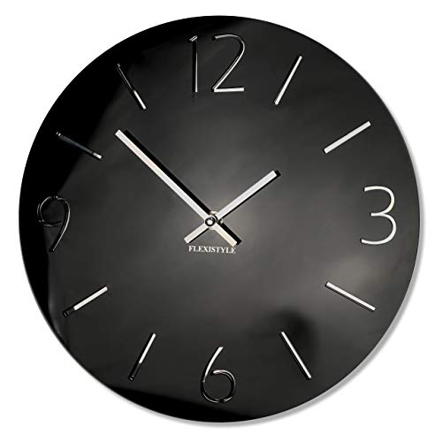 FLEXISTYLE Flex iStyle–Moderno Reloj de Pared Slim, diseño único, Color Negro Brillante...