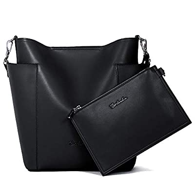 BOSTANTEN Genuine Leather Handbag Designer Hobo Shoulder Bucket Bags Tote Purses and Handbags Set with Clutch Purses