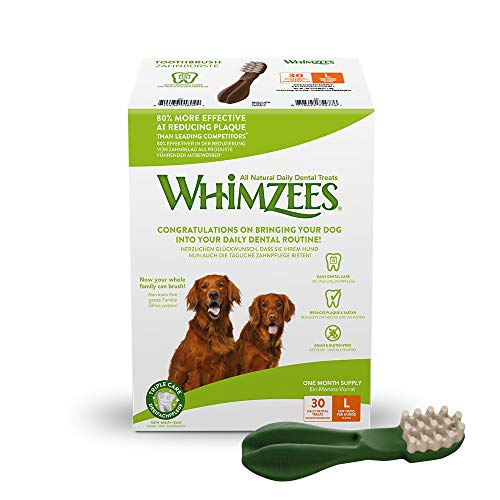 WHIMZEES Zahnbürste, natürliche, getreidefreie Zahnpflegesnacks, Kaustangen für große Hunde, Monatspackung (30 Stück), Größe L