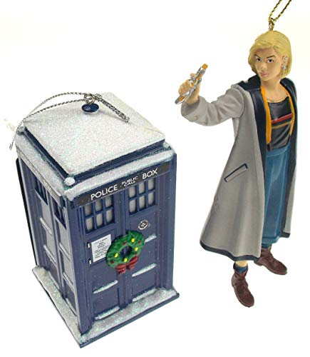 Doctor Who 13th Doctor with Sonic & Tardis with Christmas Wreath 2 Piece Ornament Bundle