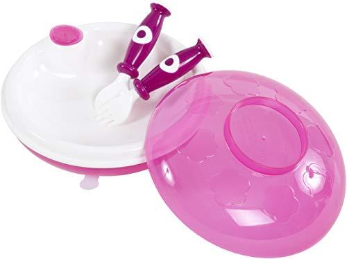 Bieco Set Warmhalteteller Baby mit Deckel, Gabel und Löffel | Baby Wärmeteller | Thermo Teller | Babybrei Geschirr | Babybrei Zubehör | Breiteller Baby | Babyteller | Kindergeschirr | warming
