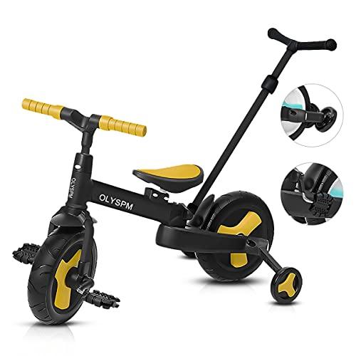 OLYSPM 5 en 1 Triciclo Bebé Plegables Bicicleta sin Pedales para 1-6 Años Niños,Triciclo para Bebes con Pedales Desmontables y Ruedas Auxiliares,Triciclo Evolutivo(Amarillo)
