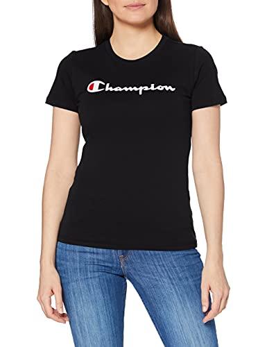 Champion Mujer - Camiseta Classic Logo - Negro, L