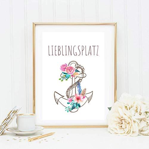 Din A4 Kunstdruck ungerahmt Lieblingsplatz Anker Blumen Boho Chic Aquarell Maritim Druck, Poster, Bild, Deko, Geschenk, Wandbild, Wanddekoration
