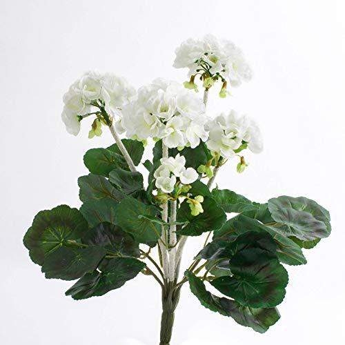 artplants.de Decorativo Geranio MIEKE en Vara, Blanco, 30cm, Ø 25cm - Geranio sintético - Planta Artificial