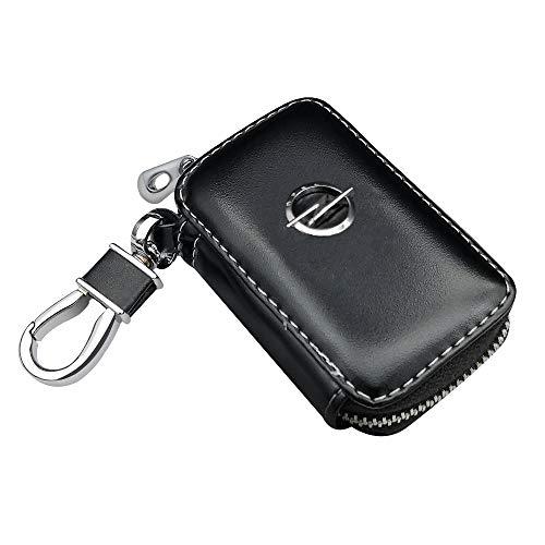 VILLSION Auto Schlüsselmäppchen Echtes PU Leder Schlüsseltasche Passt für Opel Auto Funkschlüssel Schlüssel Kasten mit Edelstahlhaken Metall Reißverschluss, Schwarz