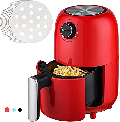iRUNTEK Mini Compact Air Fryer, 1.3 Quart Electric Small Air Fryer Oven Cooker, Personal Oil-less healthy Fryer Pot with Timer Controls and Non Stick Basket, Auto Shut-off, 800W, Red