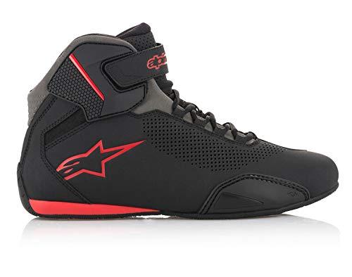 Alpinestars Men's Sektor Vented Street Motorcycle Shoe, Black/Gray/Red, 12