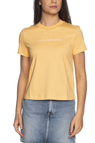 Calvin Klein Jeans Shrunken Institutional tee Cuello extendido, Naranja triturado, XS para Mujer