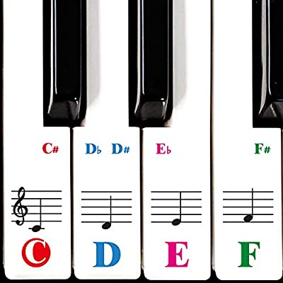 Piano Keyboard Stickers Specially for 61/54/49/37 Key.Colorful Bigger Letter,Thinner Material,Transparent Removable,with Cleaning Cloth