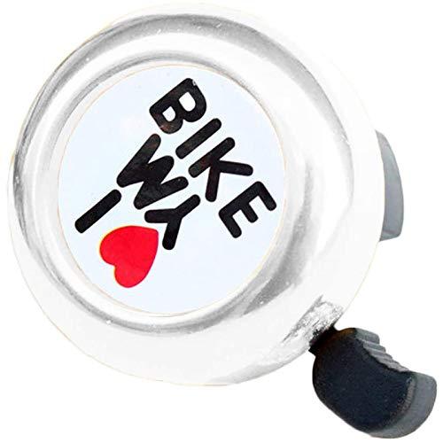 "HUI JIN Timbre para bicicleta con texto en inglés ""I Love My Bike"", color plateado y rosa"