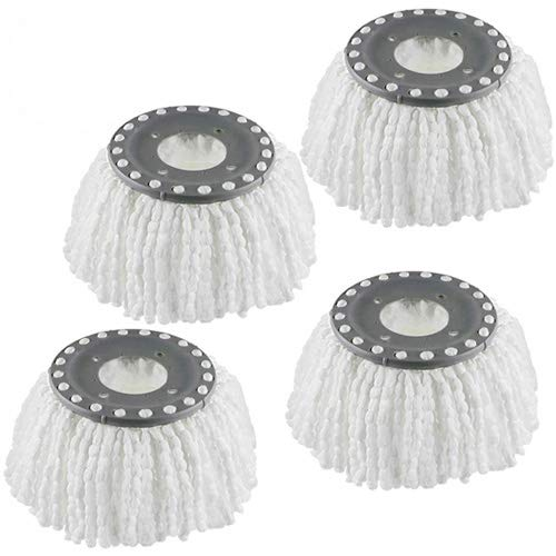 Refill mop Head,Best Value Spin mop Replacement,for Hurricane/mopnado Compatibility 360 Spin mop Replacement Head System Anti-Abrasive Super Clean Microfibers (White-4 Pack)